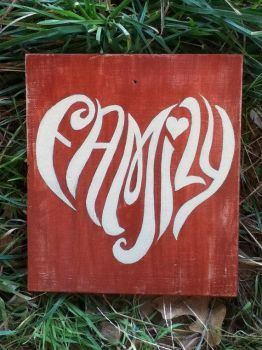 Distressed, Rustic, Red Hand Painted Family Sign by KarenNicole97