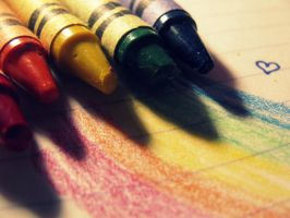 Rainbow of crayons by xxIMPERFECTIONS