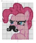 Pinkie Pie with Mustache-Cross Stitch Pattern by lilith210