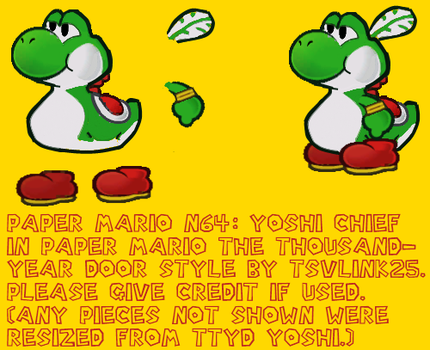 Paper Yoshi chief pieces by tsvlink25