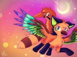 Contest Entry- flying at sunset by Gameaddict1234