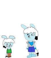 Alison and Digi as Chara and Blueberry by kittyfelcon