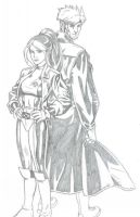 Rogue and Gambit by realrogue