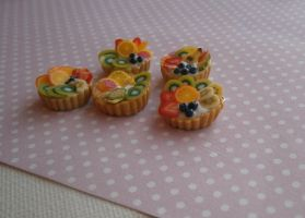 Polymer Clay Fruit Tarts by Fimochu