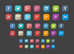 42 Long Shadow Social Icons FREE .PSD by emrah-demirag