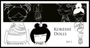 Hand Drawn Kokeshi Dolls by FidgetResources