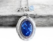 Constellation Gemini Resin Oval Locket Necklace by crystaland