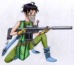 Dave with his sniper gun (coloured) by Ruthmohan