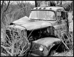 old red truck by bezman