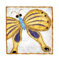 Gold Butterfly Painting by zinneart