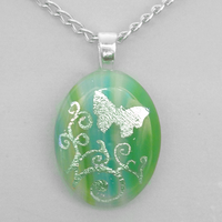 Green-Silver Glass Pendant by HoneyCatJewelry
