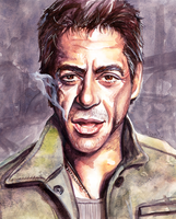 Another Robert Downey Jr Watercolor by Chicken-Priestess