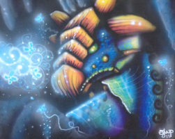 Magic Cave  Dragon airbrush Painting 16x20 by omfgitsbutter