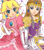 Princess Peach and Zelda by Honoka