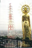 power lines and buddha by JohnFarallo