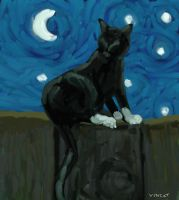 Cat on Fence - Vincat Van Gogh by katiejo911