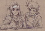 Zelos and Lloyd :Ink: by JereduLevenin
