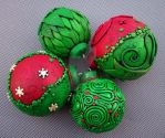 Christmas Ornaments Red Green by MandarinMoon