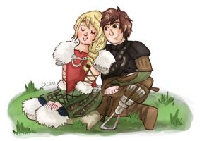 Astrid and Hiccup by Sacari