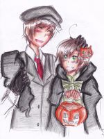 Spain and Romano Halloween Drawing by THE-L0LLIP0P