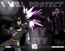 Batman vs. Kamen Rider Joker by greatwuff