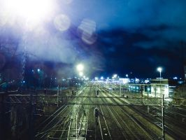Helsinki Rautatiet - Railroads at night by hmcindie