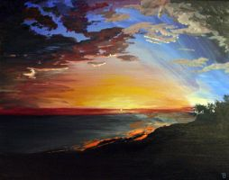 Sunset Painting by TBrennan
