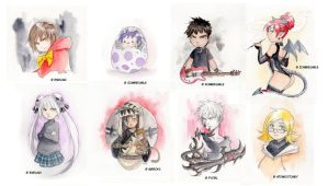 Watercolour chibis by Zombiesmile