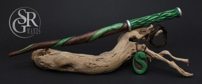 Slytherin Wand - Snake 'n' Flames by SRG-Wands