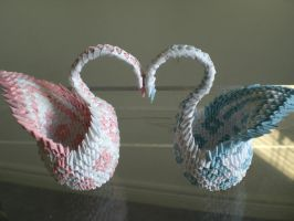 Origami Love Swans by lantern77