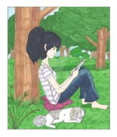 Reading by a Tree with my Maxie by ChiisaiKabocha17