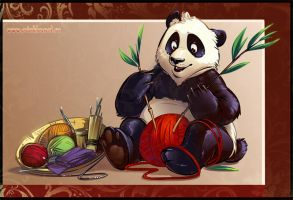 Panda_knitting by PinkaCat