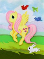 Fluttershy Papercut by calzephyr