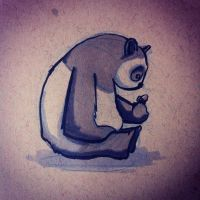Panda with an acorn by lookhappy