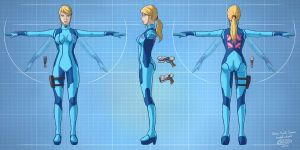 Zero Suit Samus model sheet by glitcher