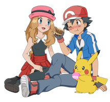AmourShipping - Satoshi and Serena Poffles by Lunariasu