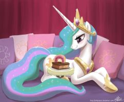 Princess Celestia and Her Cake by johnjoseco