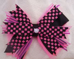 Hot Pink Black Hello Kitty Bow by BowtiqueNoir