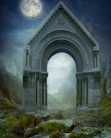 PREMADE background - Arch_blue_green by Euselia
