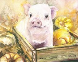 Piggy with pumpkins by GeorgeArt23