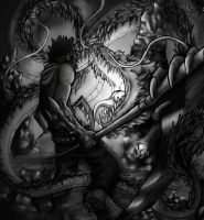 Fithing with dragon :grayscale: by bloody-hell-emo