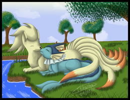 Ninetales and Vaporeon by zeaeevee