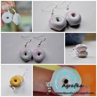 Donuts with blue and pink frosting from clay by Aagrafka