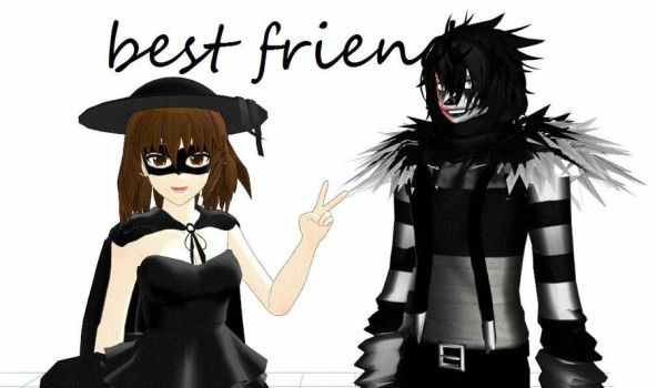 Laughing Jack and Raven MMD by Raven-creepypasta