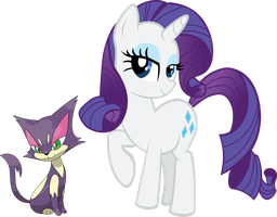 Rarity and Purrloin by shirorinku