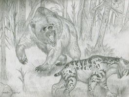 Grizzly vs Smilodon Fatalis by Art-26