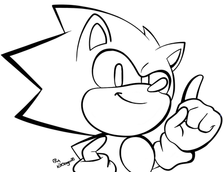 A Small Classic Sonic Sketch- Lineart by KJDragon70