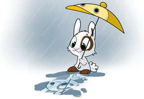 Bunny playing in the rain by DoddleFur