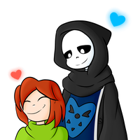 Sans and His Child (No Background) by VeteranPegasister