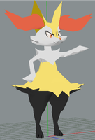 Braixen papercraft wip 2 by javierini